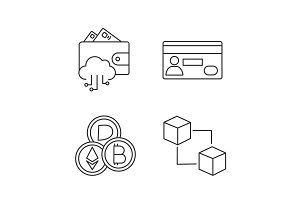E-payment linear icons set