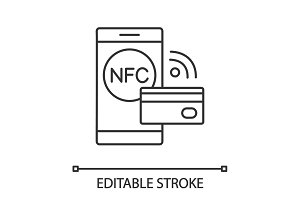 NFC technology linear icon