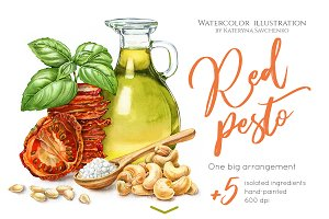 Red Pesto. Watercolor food clipart