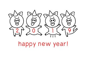 vector 2019 happy new year pig