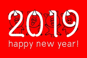 red Happy New Year 2019 vector pig