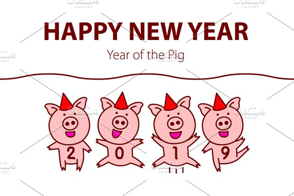 pink pig happy new year 2019 graphics