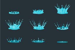 Cartoon Dripping Water Effect Set.