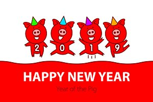 red pig. Happy New Year. 2019 vector