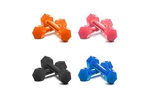 3d Color Dumbells Set. Vector