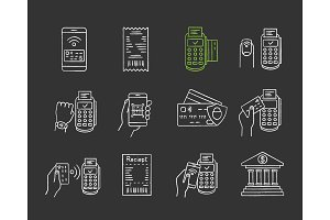 NFC payment chalk icons set