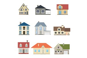 Cartoon Houses Exterior Set. Vector