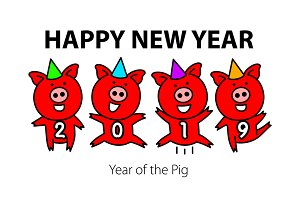 funny pig. Happy New Year 2019