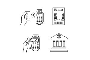NFC payment linear icons set
