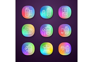 NFC payment app icons set