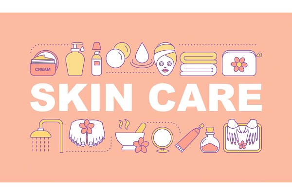 Skin care word concepts banner