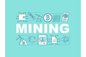 Cryptocurrency mining concept banner