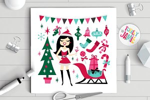 Retro Christmas Santarina Party Set