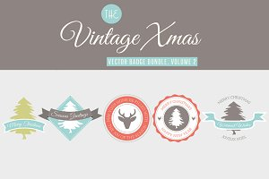 5 Vintage Christmas Badges Vol 2