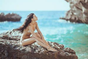 Portrait of beautiful young woman on