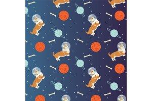 dog, space, astronaut illustration
