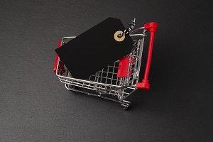 Shopping cart on black