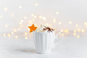 Cup of hot drink with whipped cream