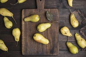 fresh ripe yellow pears