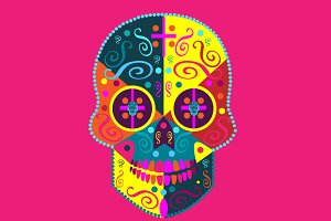 Fun colorful skull icon background