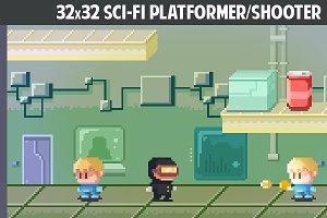 32x32 Sci-fi platformer/shooter pack