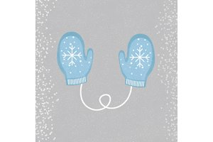 , merry, mittens, winter, decoration