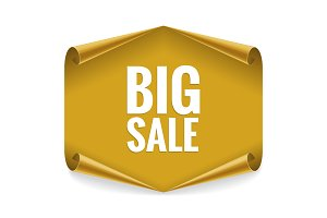 Sale banner. Realistic Gold Glossy