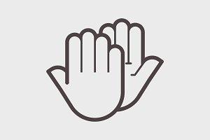 Hand shake gesture. Symbol high five