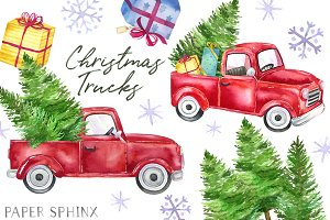 Christmas Truck Clipart Pack