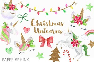 Christmas Unicorns Clipart Pack