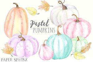 Pastel Pumpkins Clipart Pack