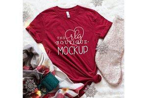 Red Shirt Mockup, Christmas Shirt