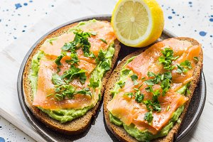 Rye bread avocado toasts with smoked