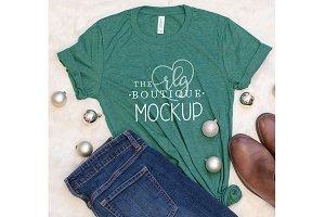 Green Shirt Mockup, Christmas photo
