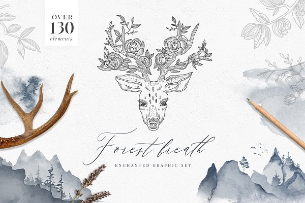 Forest Breath. Enchanted graphic se…