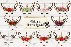 Christmas Unicorn Reindeer Clipart