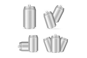 Shiny  Cans Set. Vector