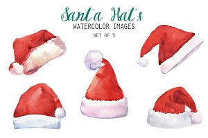 Watercolor Santa Hats Clipart