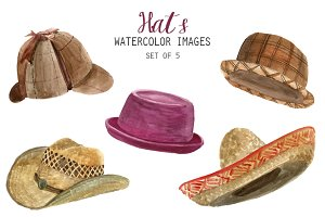 Watercolor Hats Clipart