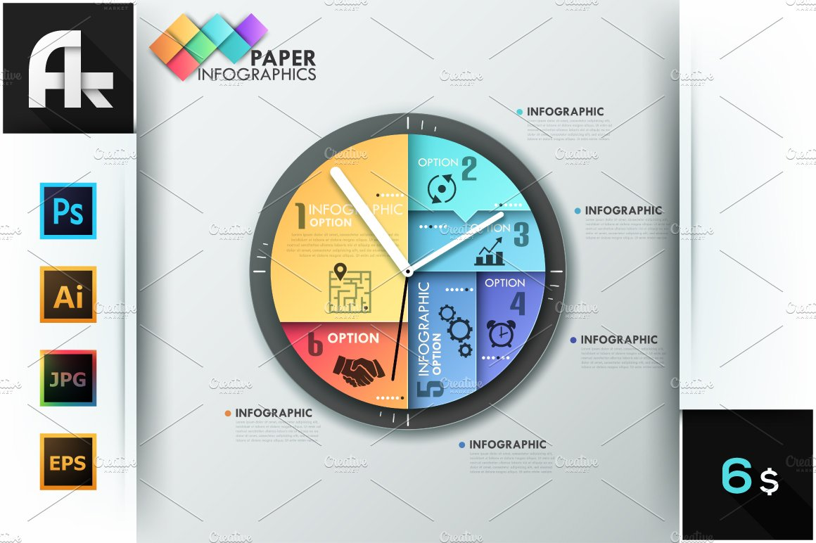 paper infographic clock template presentation templates creative