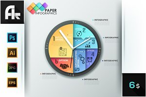 Paper Infographic Clock Template
