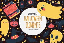 Set of Spooky Halloween Elements by  in Illustrations