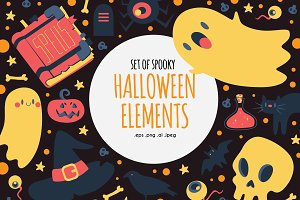 Set of Spooky Halloween Elements