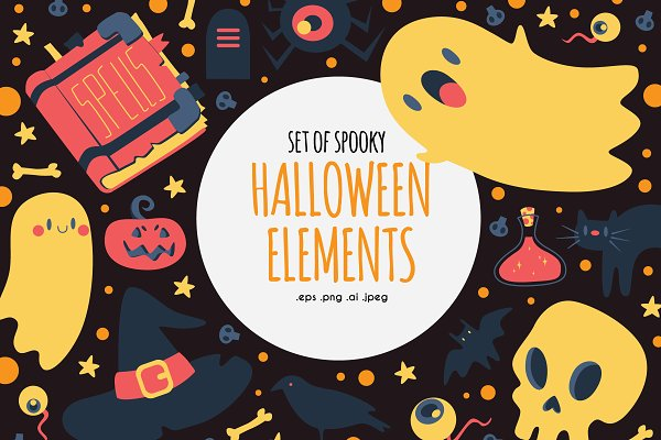 Illustrations and Illustration Products - Set of Spooky Halloween Elements
