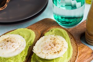 Rye bread avocado toasts with