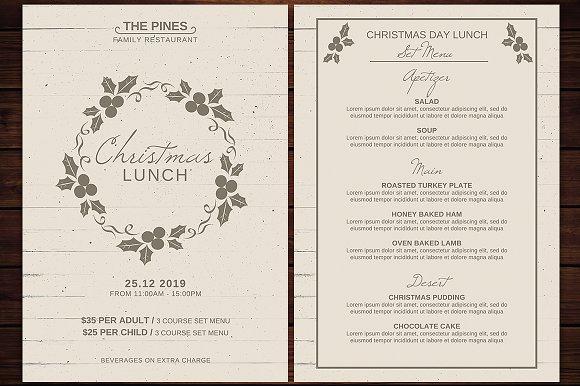 christmas menu flyer template flyer templates creative market