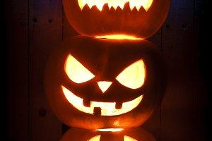 Three different Halloween pumpkins o