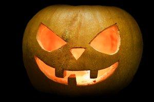 Halloween pumpkin on hay background