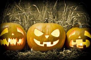 Three Halloween pumpkins