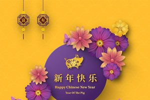 Set Of 2019 Chinese New Year Card Card Templates Creative Market
